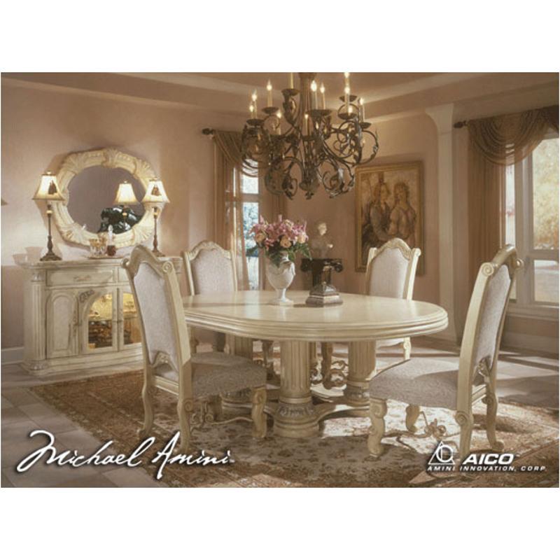 53001t 07 Aico Furniture Monte Carlo Snow Round Dining Table