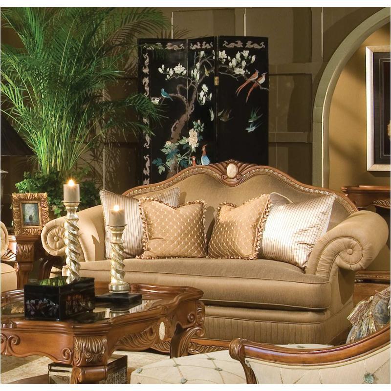 65825 Brnze 28 Aico Furniture Cortina Wood Trim Camel Loveseat