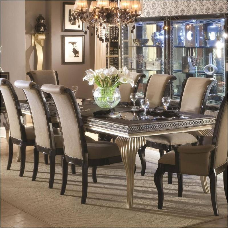 N03000t 85 Aico Furniture Hollywood Swank Leg Dining Table Caviar