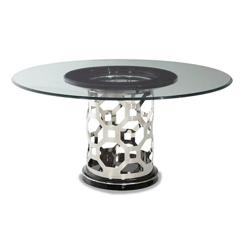 Pearl 60in Round Glass Top Dining Table, 60 Inch Round Glass Top Dining Table Sets