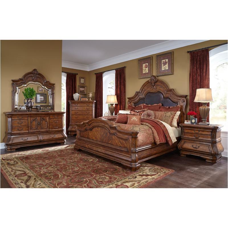 34012 34 Aico Furniture Queen Mansion Upholstered Bed Melange
