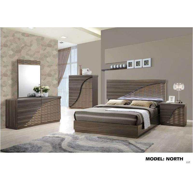 North Zebra Wood Gold Line Bedroom