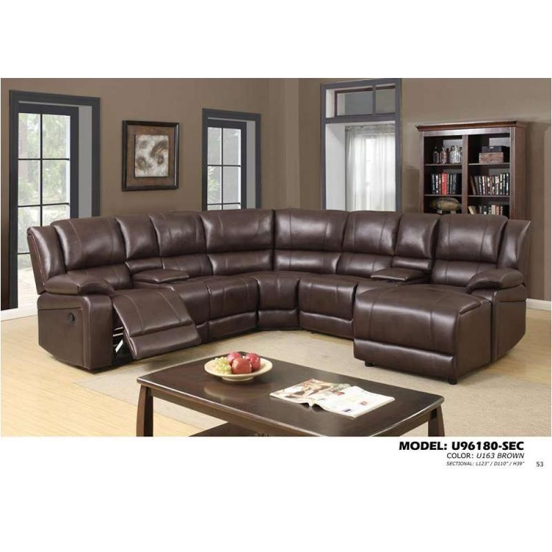 Brown Global Furniture Sectional, Leather Living Room Groupings