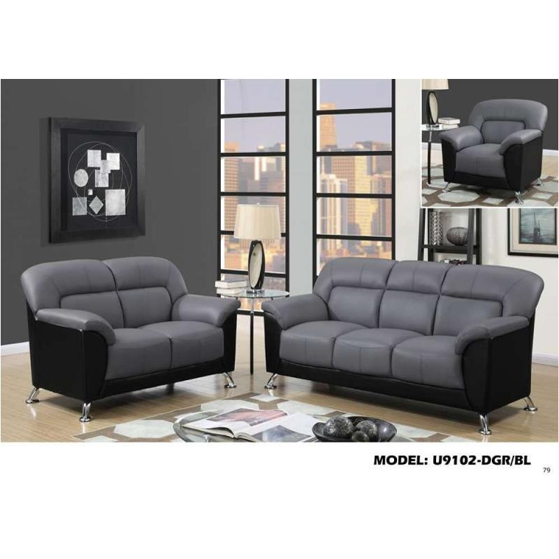 Dark Grey And Black Global Furniture Sofa, Black Living Room Furniture