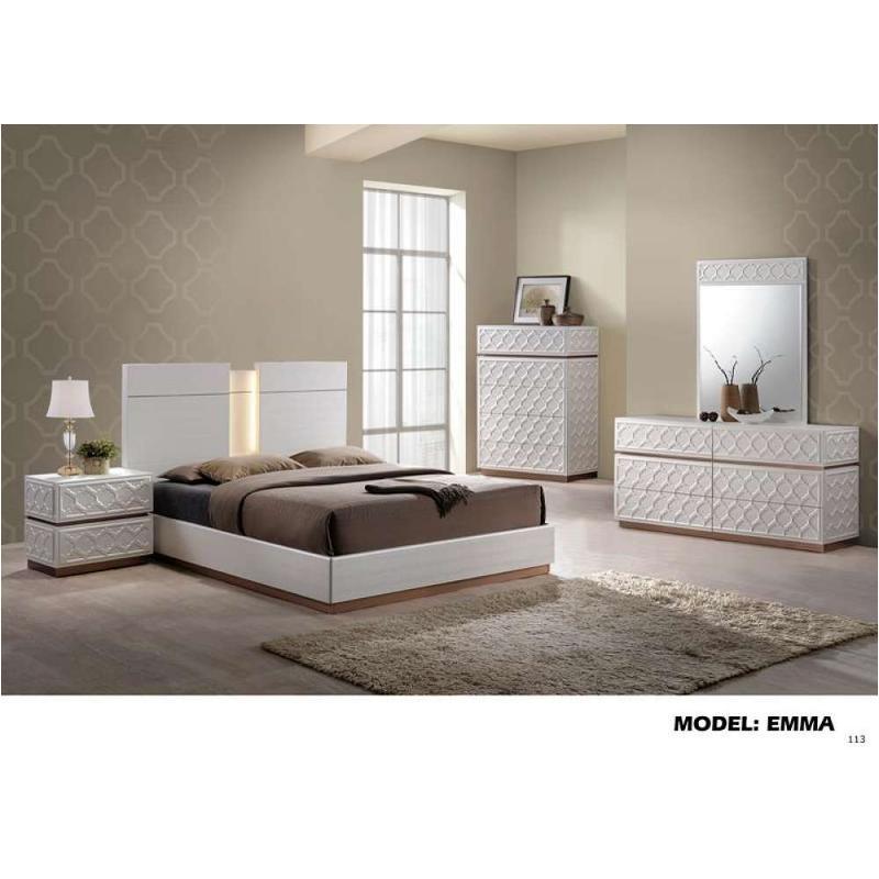 Emma K Global Furniture Leather, Cream Bedroom Furniture