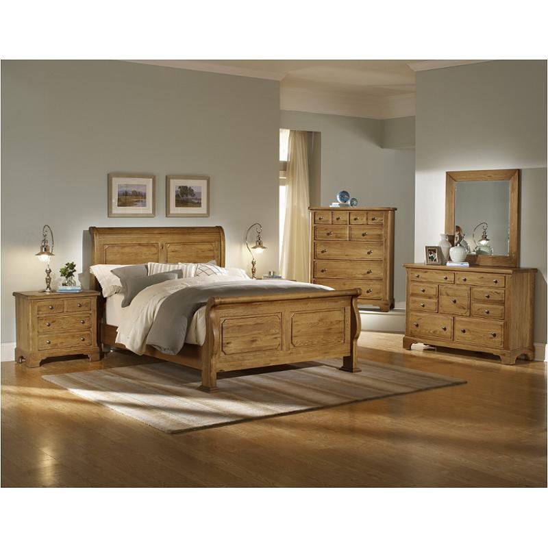 342 553 Vaughan Bassett Furniture Queen Sleigh Bed Harvest Oak