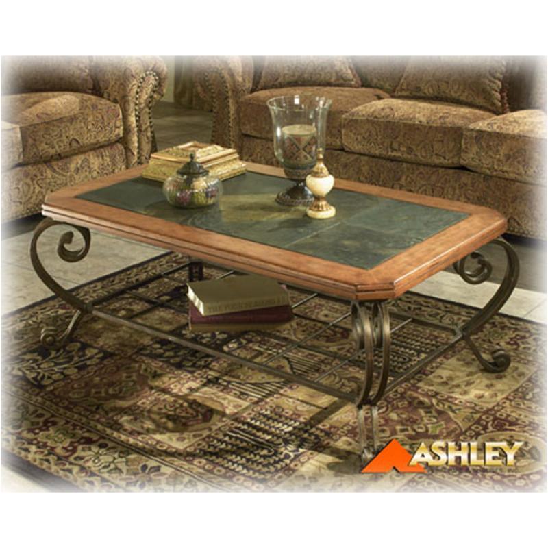 T383 1 Ashley Furniture Rect Cktl Slate Metal Brn Fnsh