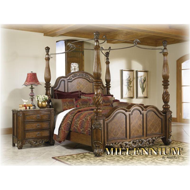 B606 50 Ashley Furniture Bellissimo K Ck Hdbd Bed Posts Brn Fnsh
