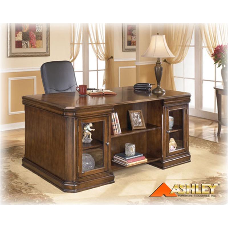 H527 21t Ashley Furniture Hamlyn Exec Desk Top Med Brn Fnsh