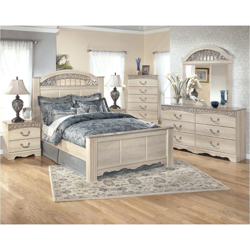 B196 68 Ashley Furniture Catalina Antique White King Poster Bed