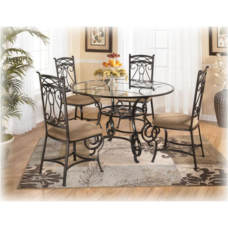 D312 225 Ashley Furniture Bianca Round Glass Dining Table