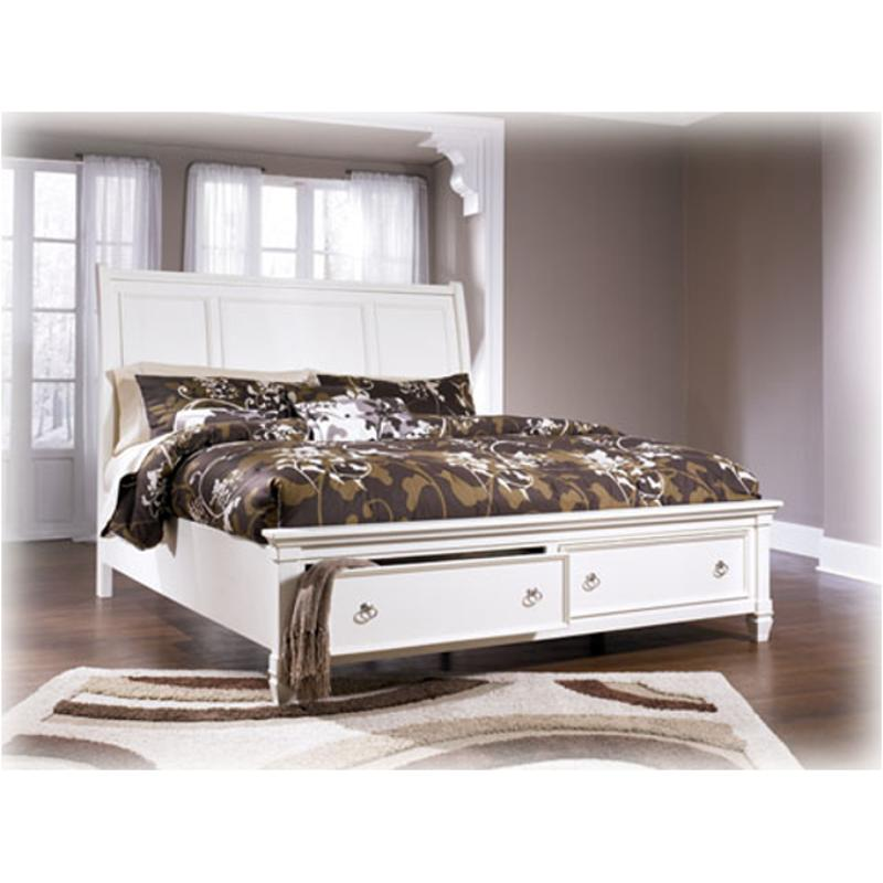 Stylish Soft White King Storage Sleigh Bed Bedroom: B672-78 Ashley Furniture King Sleigh Bed With Storage Fb
