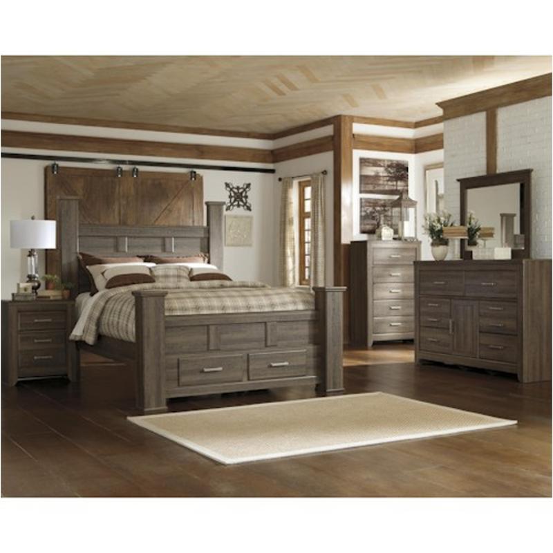 B251 67 Ashley Furniture Juararo Dark Brown Queen Poster Bed