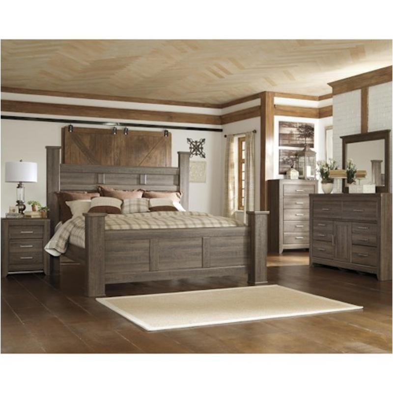 B251 68 Ashley Furniture Juararo Dark Brown King Poster Bed