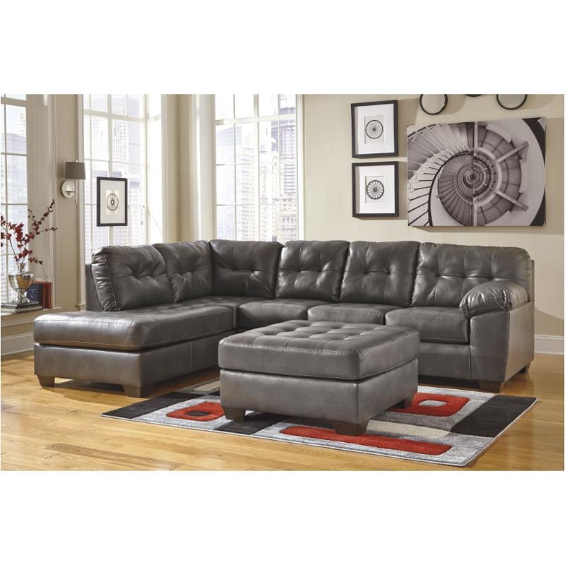 2010267 Ashley Furniture Alliston, Gray Leather Sectional Ashley Furniture