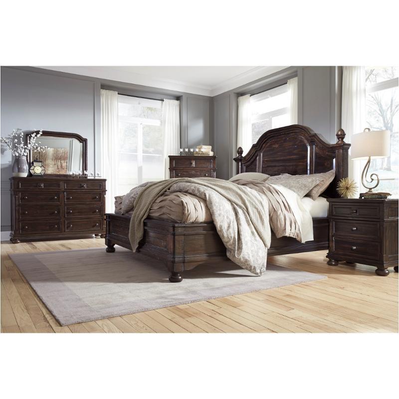B657 57 Ashley Furniture Gerlane Dark Brown Queen Poster Bed,Blue Wall Living Room Design