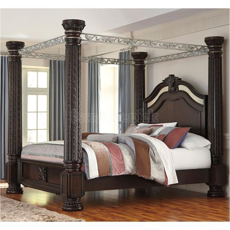 B717 72 Ck Ashley Furniture Laddenfield Dark Brown Bed