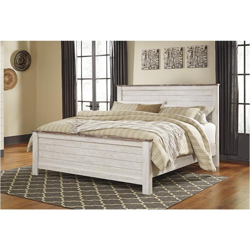 California King Panel Bed, Whitewash Bedroom Furniture