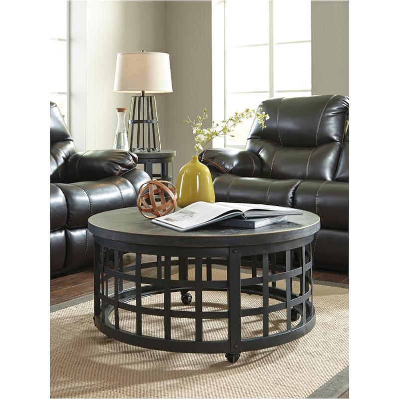 T746 8 Ashley Furniture Marimon Black Round Cocktail Table
