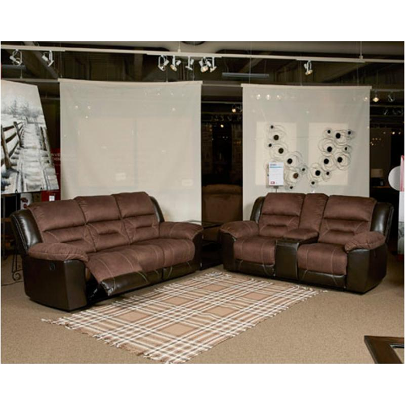 15 Ashley Furniture Earhart - Chestnut Double Recliner Loveseat With  Console