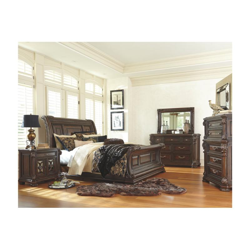 B780 78 Ashley Furniture Valraven King California King Sleigh Bed