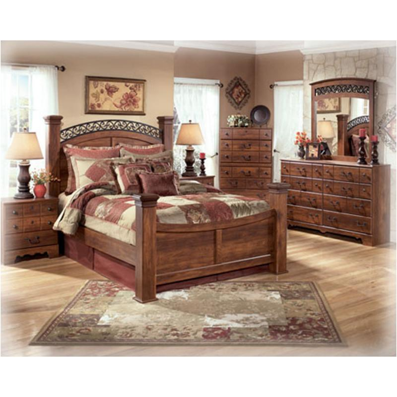 B258 78 Ashley Furniture Timberline Bedroom King Poster Bed